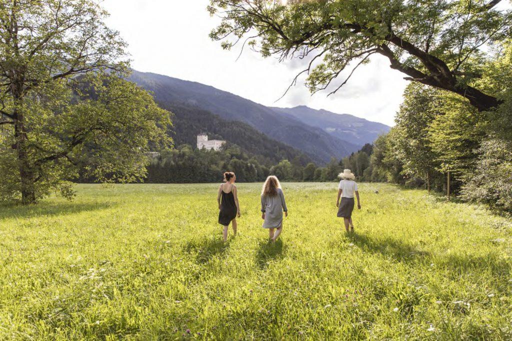 Feld vor der Tür mit Blick aufs Schlossbruck